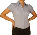 Damen Bluse, Bodybluse, Blusenbody, S, M, L, XL, Kurzarm, einfarbig, pink, blau, weiß. hell blau S