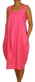 PERANO Damen Leinenkleid, A-Form, lang,  Gr. M, L, XL, XXL, neu! pink XXL