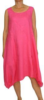 PERANO Damen Leinenkleid, A-Form, lang,  Gr. M, L, XL, XXL, XXXL, neu! pink XL