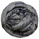 PERANO Damen Schal, Tuch, Stola, Schriftmuster, Baumwolle & Seide, 70X200, made in Italy, neu! hellgrau-blau
