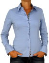 Damen Bluse, Langarm, Baumwolle, Elasthan, blau, weiß, tailliert, S, M, L, XL.